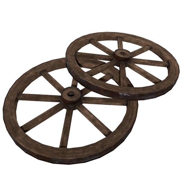 3d model old wooden wheel