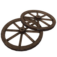 3d model old wooden wheel