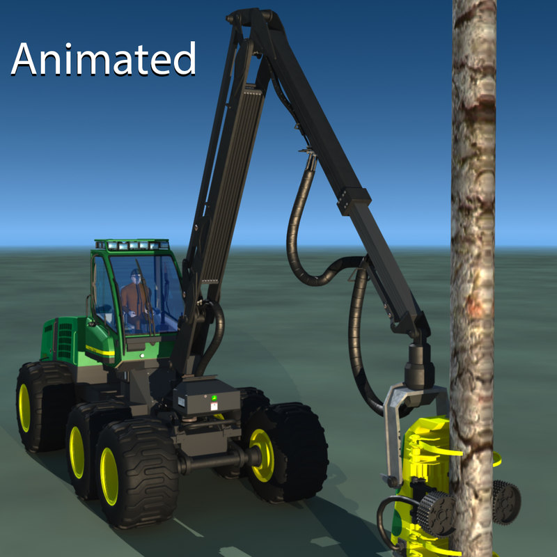 3d lwo tree harvester feller