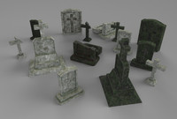 gravestones pack 3d model