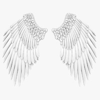 3d model realistic angel wings white