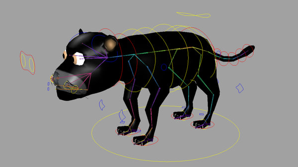 black puma rigged 3d max