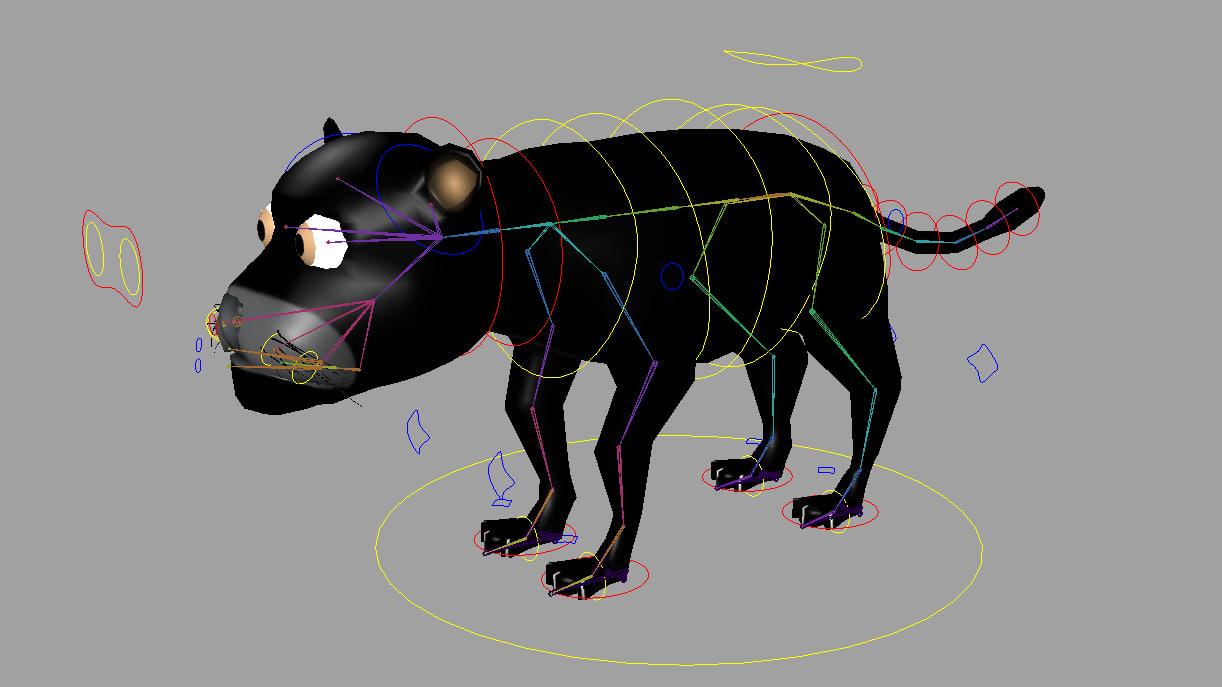 black puma rigged 3d max