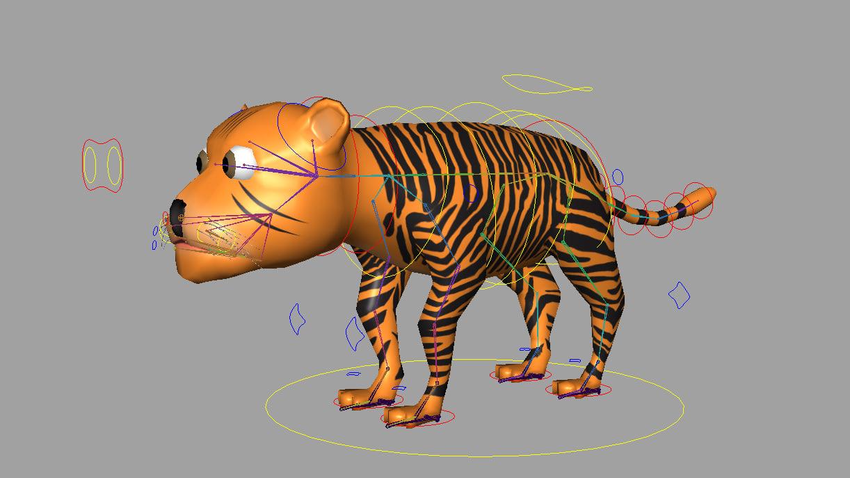 3d model of tiger rigged