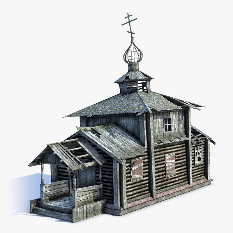 3d model low-poly russian village church