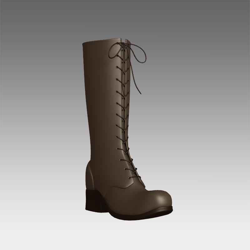 lace-up boots 3d model