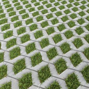 3d paving slabs grass model