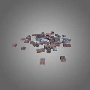 3d model bricks debris