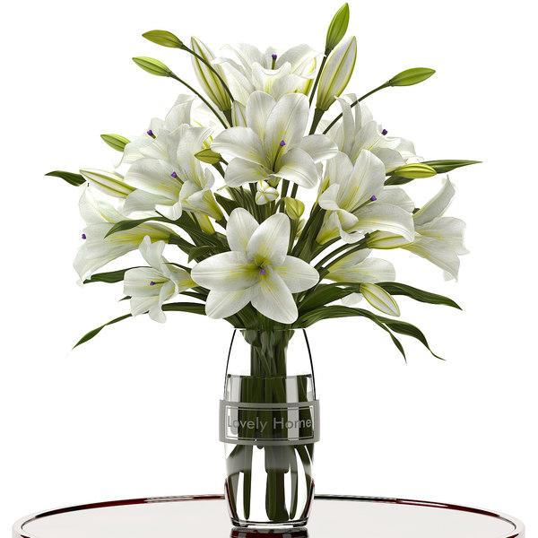 3d model white lilies