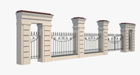 3d model of wrought iron gate fence