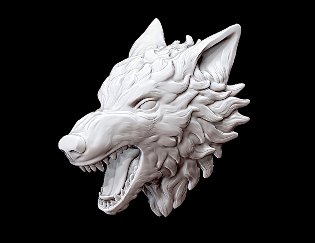 wolf head 3d obj