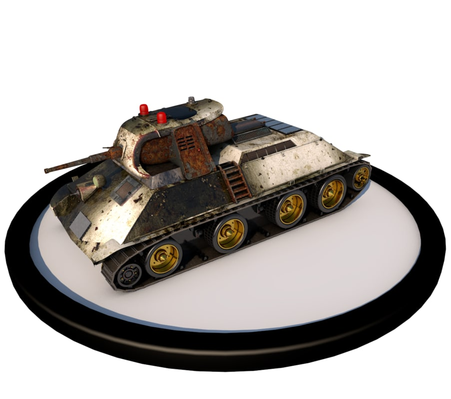 3ds low-poly battle tank a-20