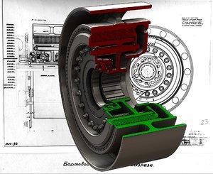 3d model steering clutch t-34 tank
