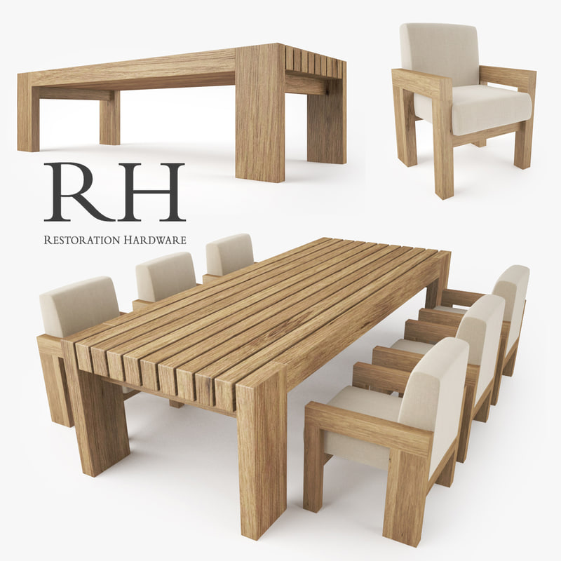 restoration hardware bardenas dining table 3d model. Black Bedroom Furniture Sets. Home Design Ideas