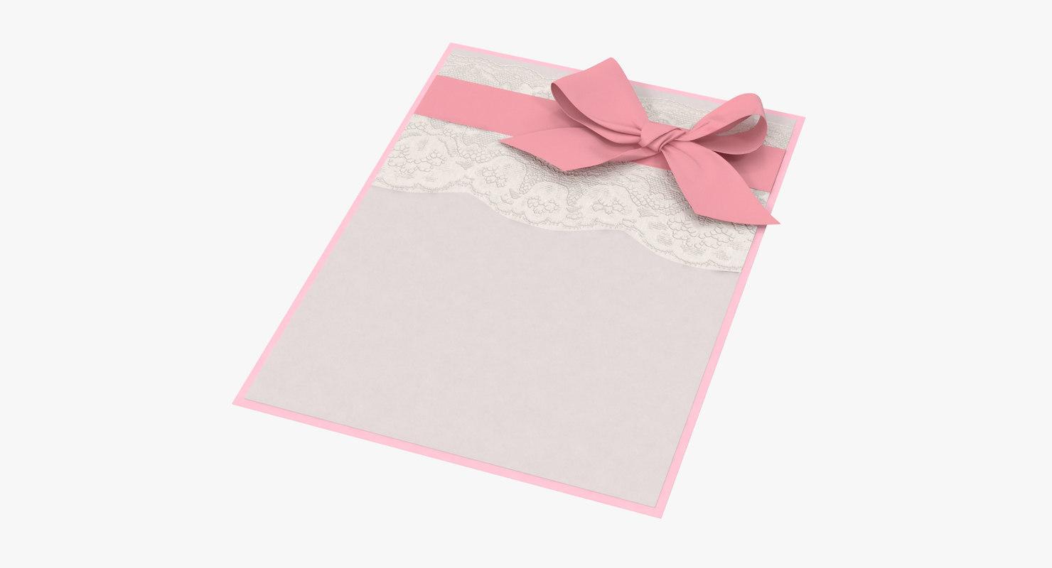 shower invitation pink 3d c4d
