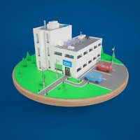 3d stylized office building
