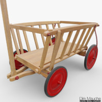 wooden cart fbx