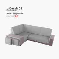 3d modern cozy l-couch