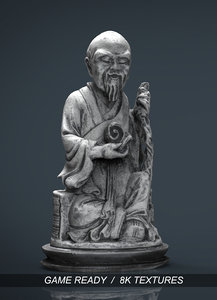 3d old chinese figure statue model