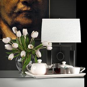 3d max decorative vase set 4