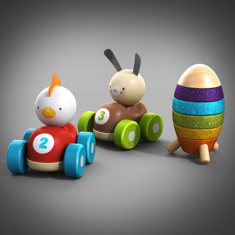 3d wooden toys model