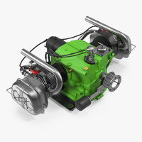 small airplane engine 3d model