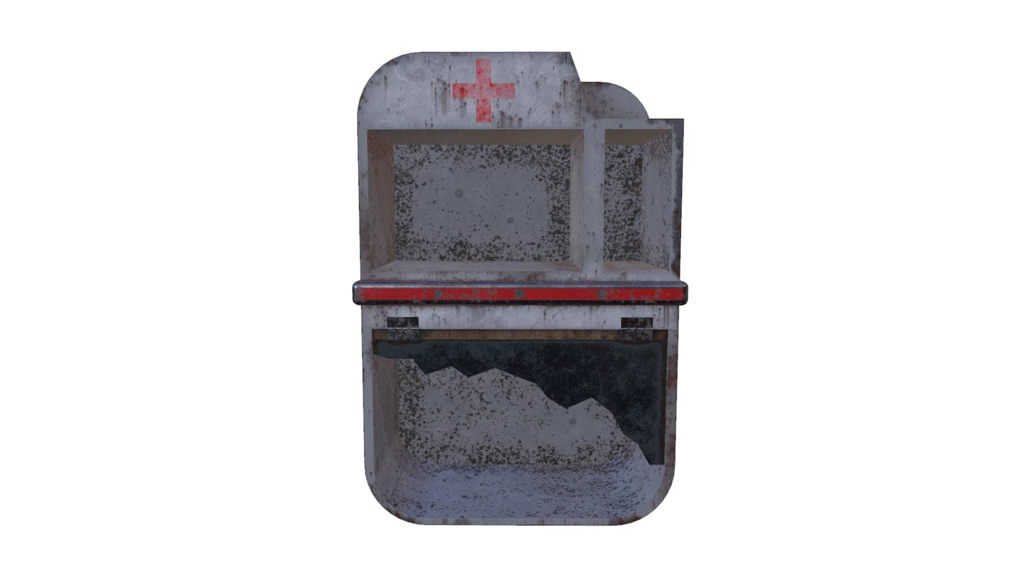 3d model rusty aid shelf