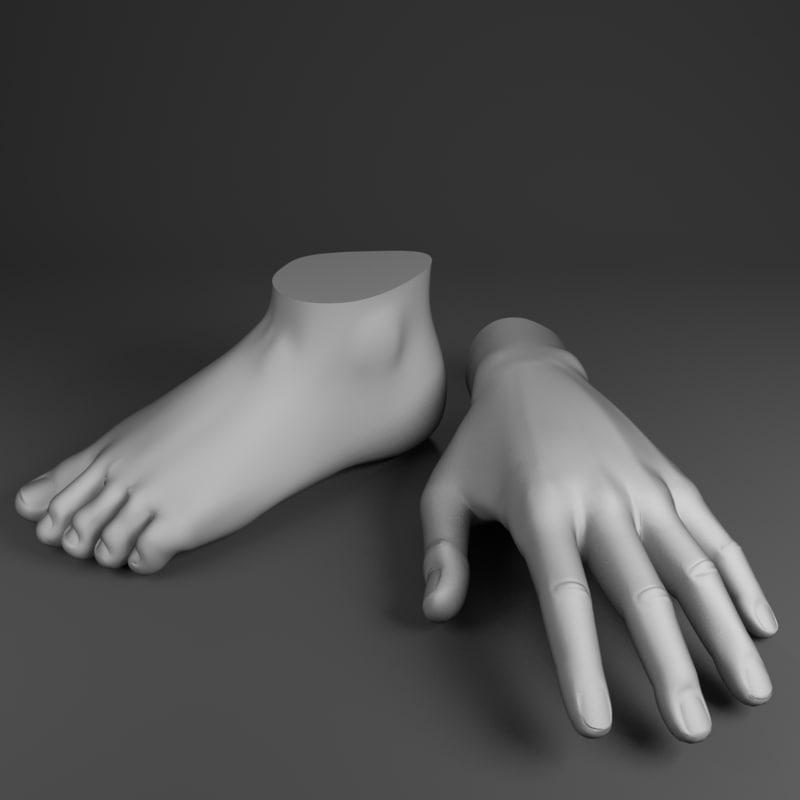 3d model hand foot