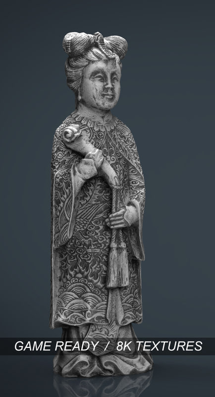 old chinese figure statue 3d model