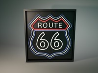 3d neon light route 66