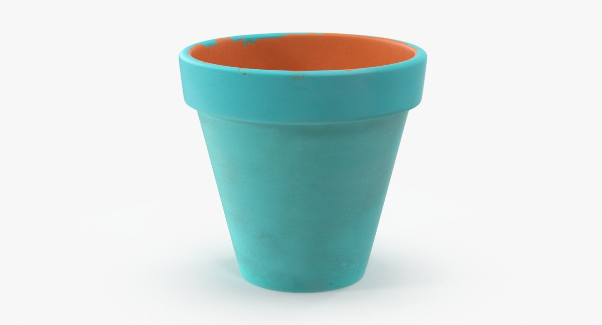 3d medium flower pot painted
