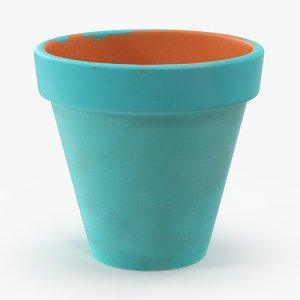 3d medium flower pot painted