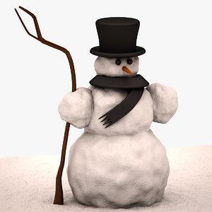 3d max snowman snow highpoly