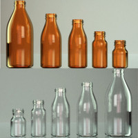 3d obj glass bottle