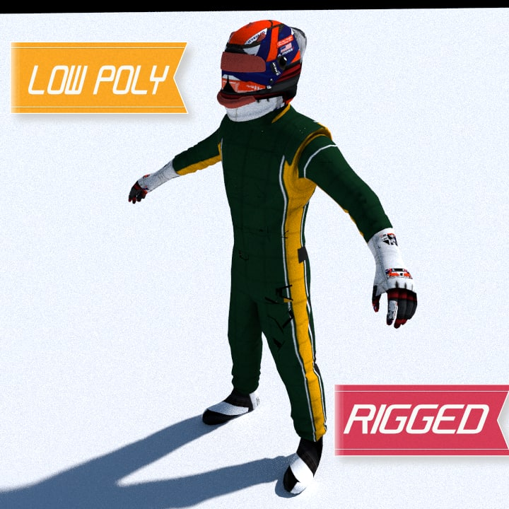 renault formula 1 driver 3d model