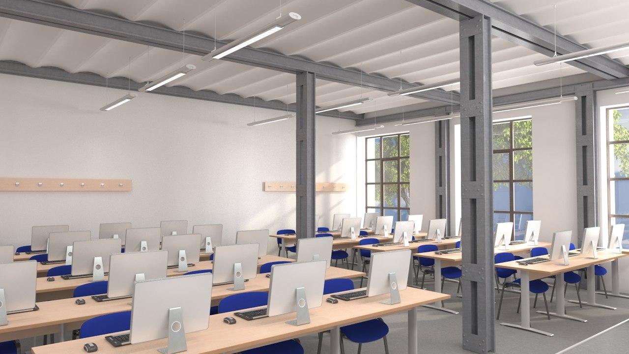 classroom computer 3d model