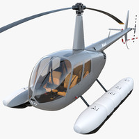 Helicopter Robinson R44 With Floats 3 3D Model