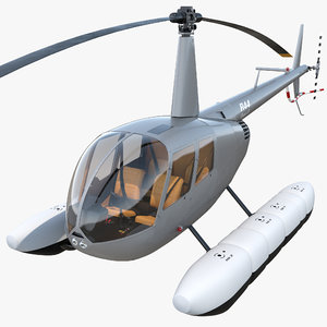 helicopter robinson r44 floats 3d c4d