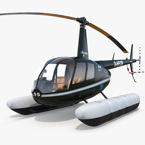 helicopter robinson r44 floats 3d model