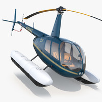 3d model helicopter robinson r44 floats
