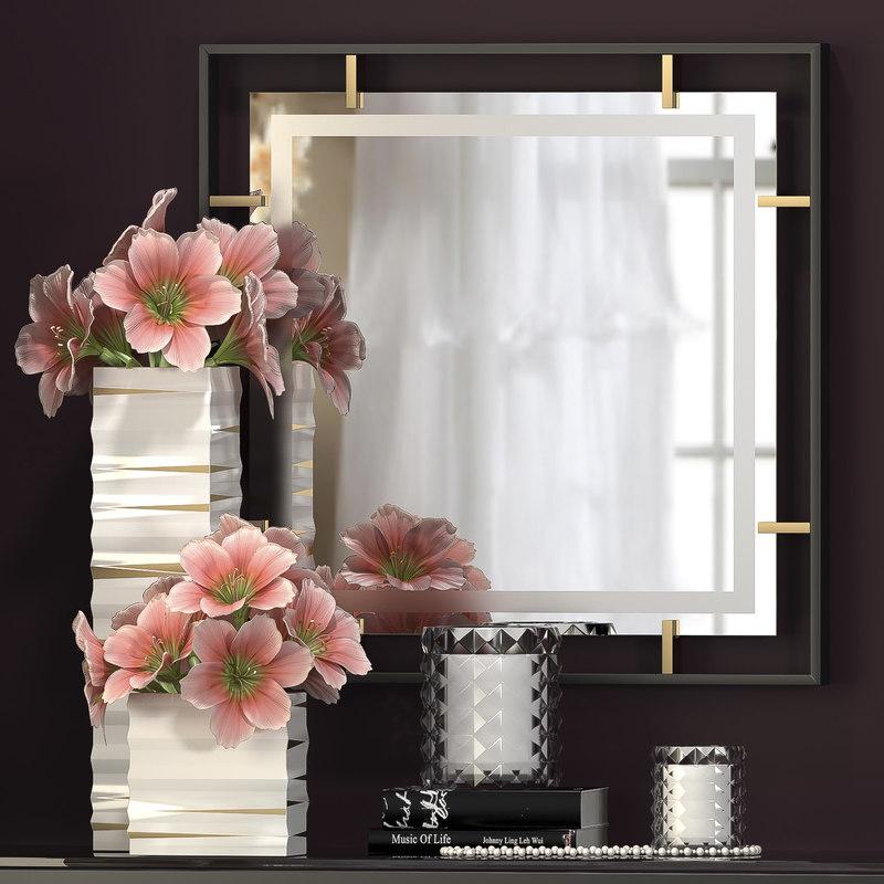 3d model of decorative flower vase set