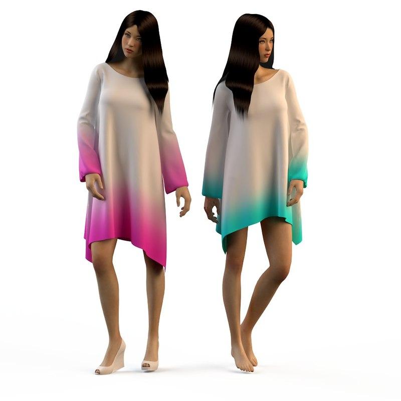 3d woman dresses