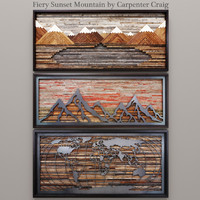 3d sunset mountain carpenter model