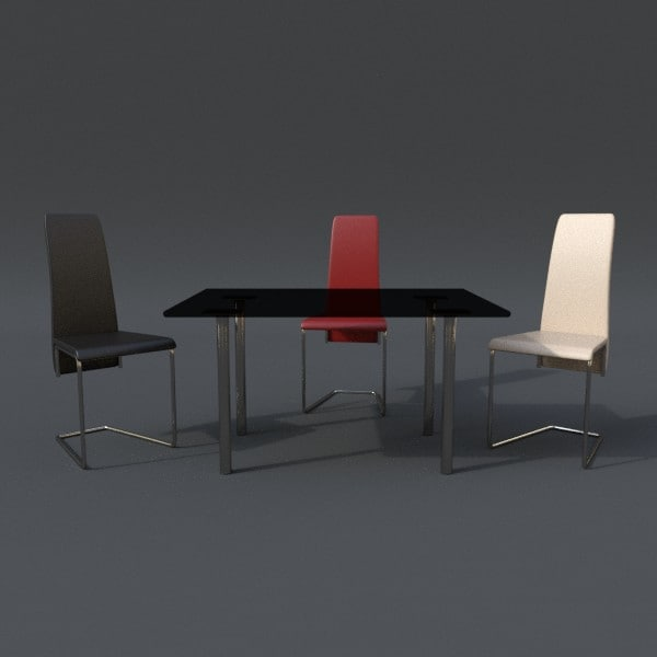 table chair set 3d 3ds