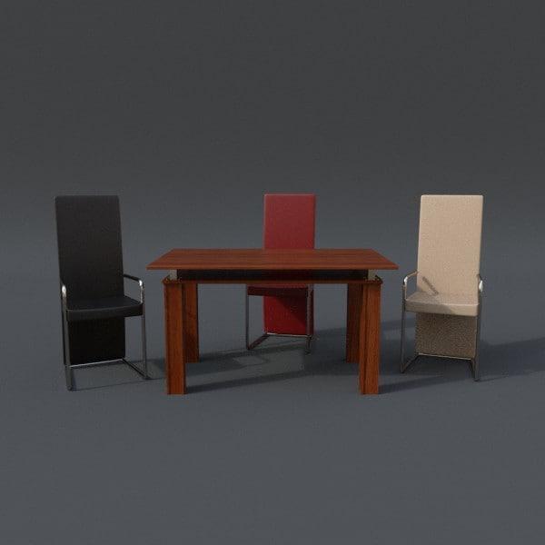 table chair set 3d model