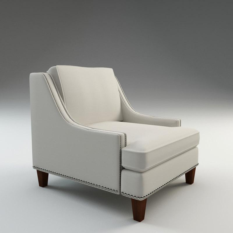 3d model paige arm chair
