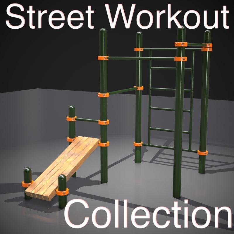 outdoor street workout equipment 3d model
