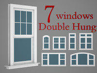 double hung windows wood 3d 3ds