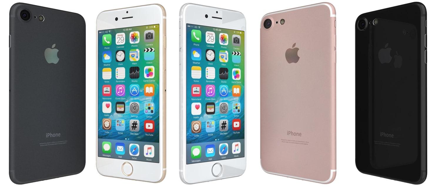 3d apple iphone 7 colors model