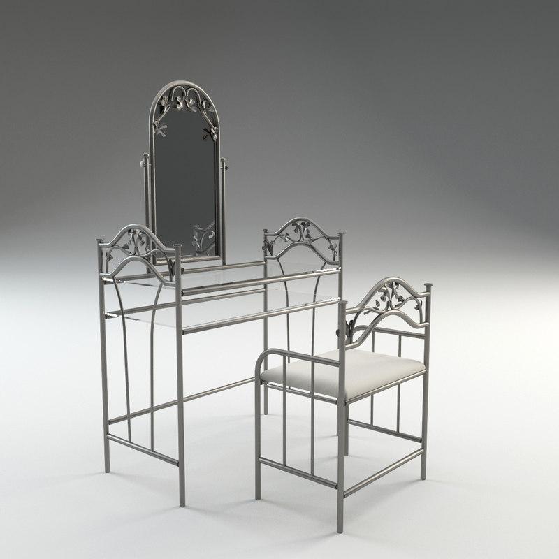 3d model vanity set stool